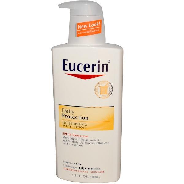 Eucerin, Daily Protection, Moisturizing Body Lotion, SPF 15 Sunscreen, Fragrance Free, 13.5 fl oz (400 ml) (Discontinued Item)
