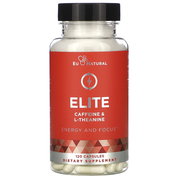Eu Natural, ELITE, Caffeine & L-Theanine, 120 Capsules
