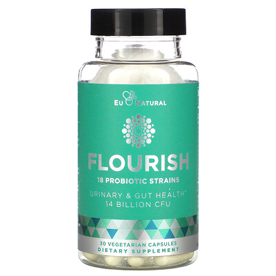 Eu Natural FLOURISH, Probiotics Urinary & Gut Health, 14 Billion CFU, 30 Vegetarian Capsules