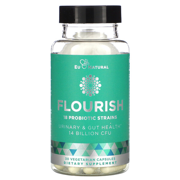 Eu Natural, FLOURISH, Probiotics Urinary & Gut Health, 14 Billion CFU, 30 Vegetarian Capsules