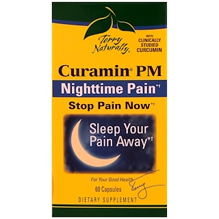 EuroPharma, Terry Naturally, Curamin PM, Nighttime Pain, 60 Capsules