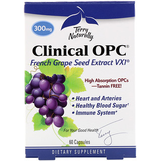 EuroPharma, Terry Naturally, Clinical OPC, 300 mg, 60 Capsules