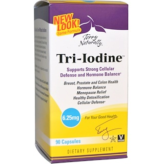 EuroPharma, Terry Naturally, Tri-Iodine, 6.25 mg, 90 Capsules