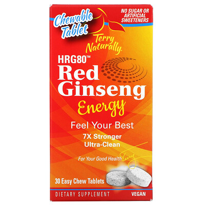 Terry Naturally HR80 Red Ginseng Energy, 30 Easy Chew Tablets