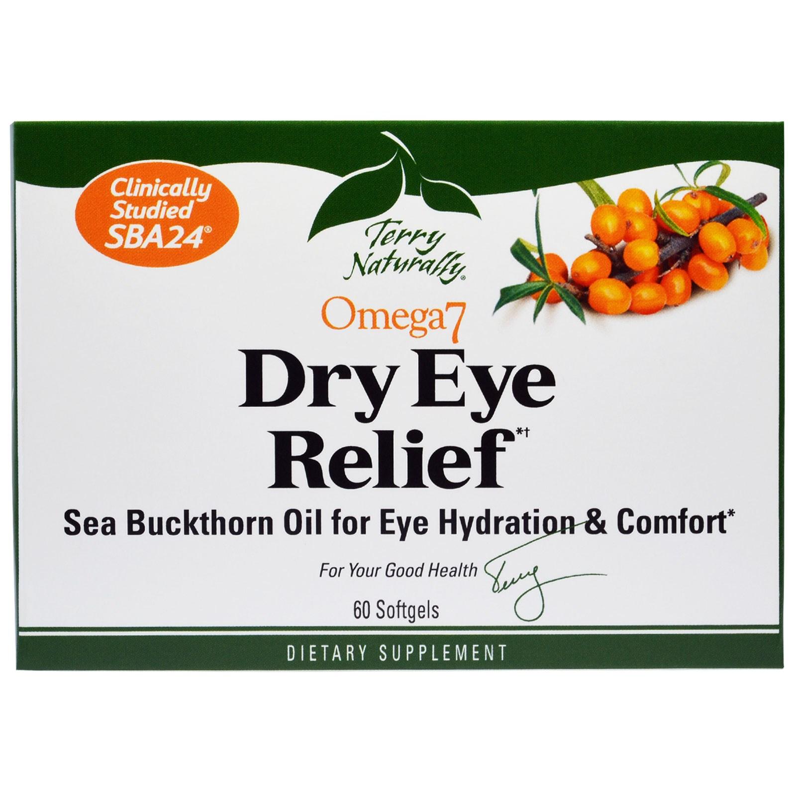EuroPharma, Terry Naturally, Облегчение симптома сухих глаз, Омега 7, 60 мягких таблеток