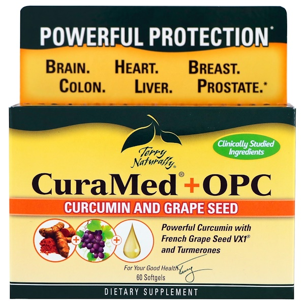 EuroPharma, Terry Naturally, CuraMed + OPC,薑黃素和葡萄籽,60粒軟膠囊