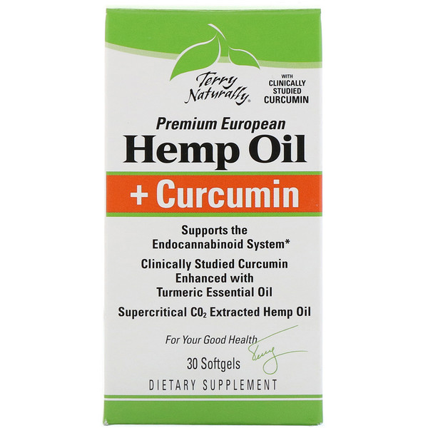 EuroPharma, Terry Naturally, Hemp Oil + Curcumin, 30 Softgels