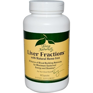 EuroPharma, Terry Naturally, Liver Fractions, with Natural Heme Iron, 90 Capsules