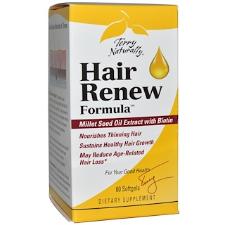 EuroPharma, Terry Naturally, Terry Naturally、Hair Renew Formula、ソフトジェル 60 錠