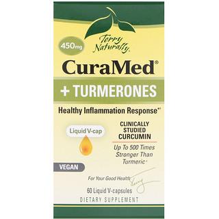 EuroPharma, Terry Naturally, CuraMed + Turmerones, 450 mg, 60 Liquid V-capsules