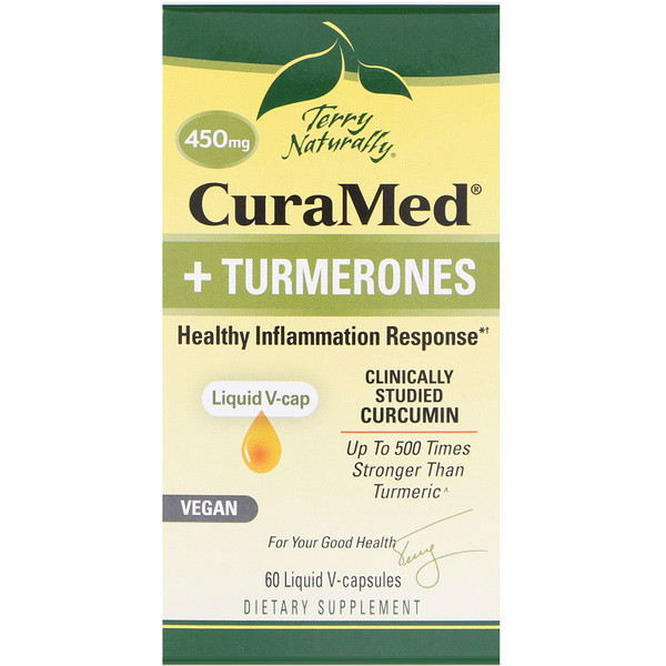 EuroPharma, Terry Naturally, CuraMed + Turmerones, 450 mg, 60 Liquid V-capsules