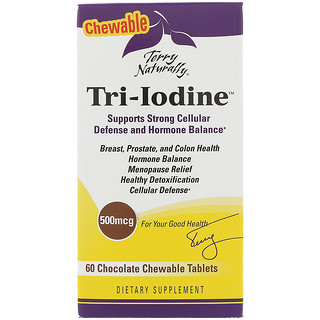EuroPharma, Terry Naturally, Tri-Iodine, Chocolate, 500 mcg, 60 Chewable Tablets