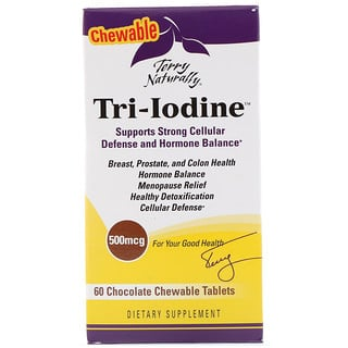 EuroPharma, Terry Naturally, Tri-Iodine, Chocolate, 500 mcg, 60 Chewable Tablets