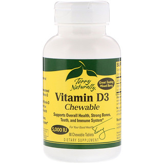 EuroPharma, Terry Naturally, Vitamin D3 Chewable, Mixed Berry, 5,000 IU, 90 Chewable Tablets