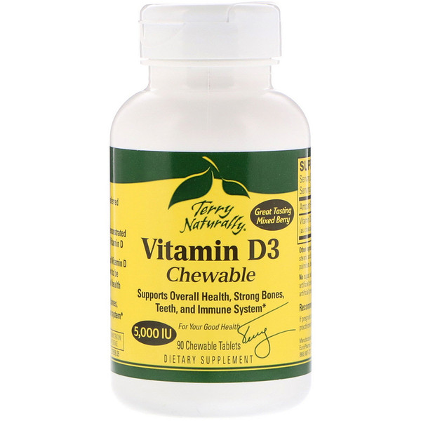 Vitamin D3 Chewable, Mixed Berry , 5,000 IU, 90 Chewable Tablets