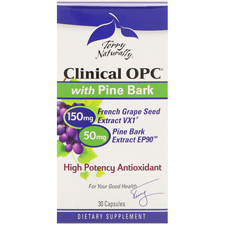EuroPharma, Terry Naturally, Clinical OPC with Pine Bark, 30 Capsules