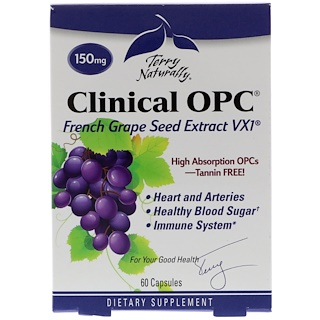 EuroPharma, Terry Naturally, Clinical OPC, 150 мг, 60 капсул