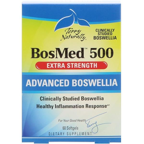 EuroPharma, Terry Naturally, BosMed 500,額外力量,高級乳香,500 毫克,60 粒軟膠囊