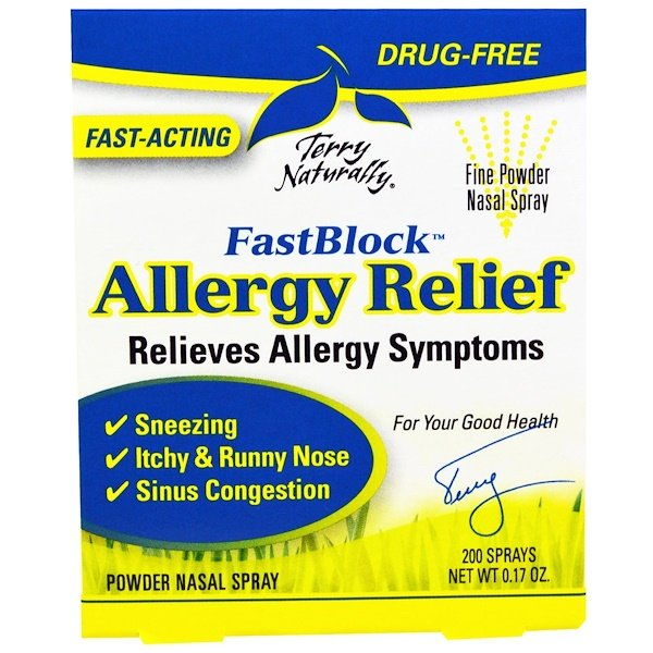 Terry Naturally, FastBlock, Nasaleze Allergy Relief, Powder Nasal Spray, 0.17 oz (Discontinued Item)
