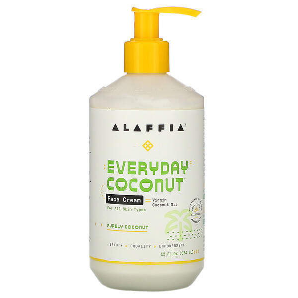 "Alaffia, Everyday Coconut, קרם פנים, Purely Coconut, ‏354 מ""ל (12 אונקיות נוזל)"