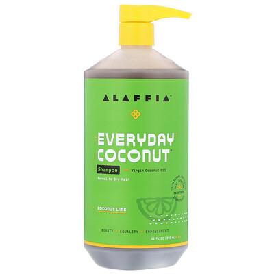Купить Alaffia Everyday Coconut, Shampoo, Normal to Dry Hair, Coconut Lime, 32 fl oz (950 ml)