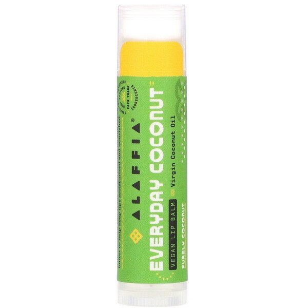 Alaffia, Everyday Coconut, Vegan Lip Balm, Purely Coconut, 0.15 oz (4.25 g)