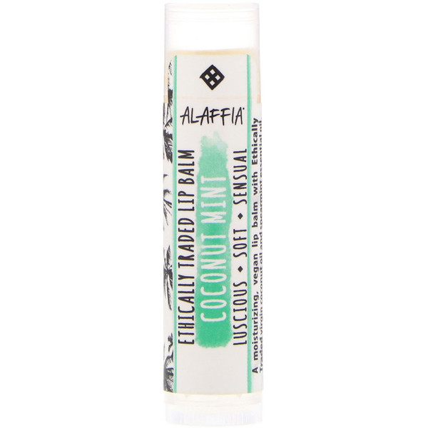 Alaffia, Ethically Traded Lip Balm, Coconut Mint, 0.15 oz (4.25 g)
