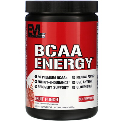 EVLution Nutrition BCAA Energy, Fruit Punch, 10.16 oz (288 g)