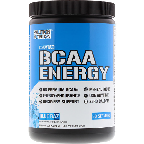 EVLution Nutrition, BCAA Energy,  Blue Raz, 9、5 oz (270 g)