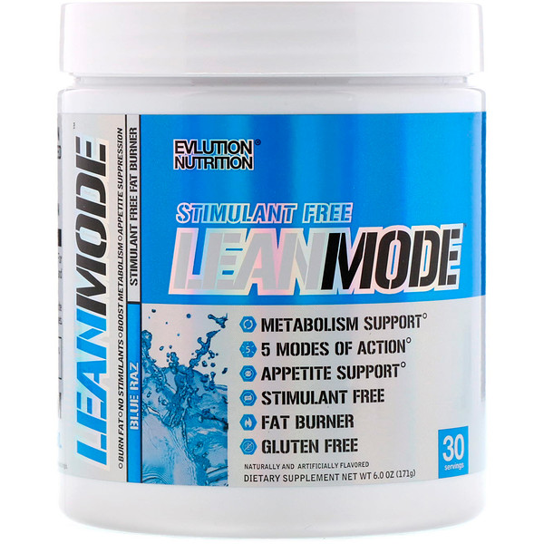 EVLution Nutrition, LeanMode, Stimulant Free Fat Burner, Blue Raz, 6.0 oz (171 g) (Discontinued Item)