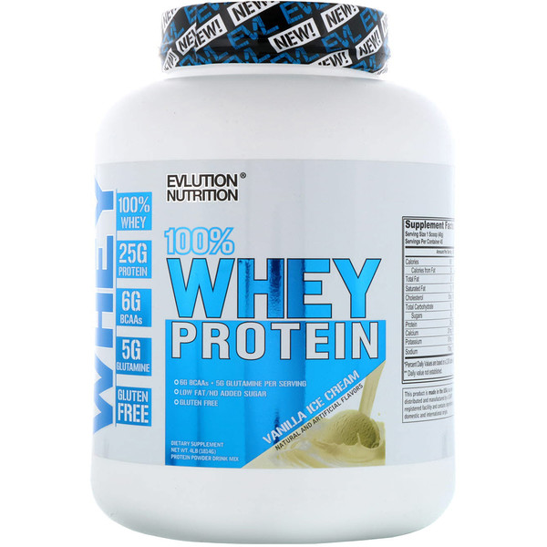 EVLution Nutrition, 100% Whey Protein, Vanilla Ice Cream, 4 lb (1814 g) (Discontinued Item)