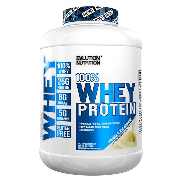 EVLution Nutrition, 100% Whey Protein, Vanilla Ice Cream, 4 lb (1814 g)