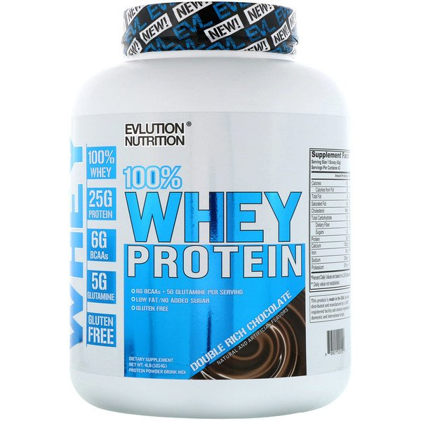 EVLution Nutrition, 100% Whey Protein, Double Rich Chocolate, 4 lb (1814 g) (Discontinued Item)