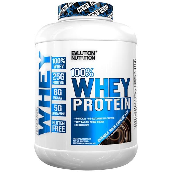 EVLution Nutrition, 100% 乳清蛋白,雙倍醇厚巧克力,4 磅(1814 克)