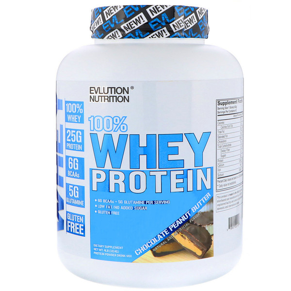EVLution Nutrition, 100% Whey Protein, Chocolate Peanut Butter, 4 lb (1814 g) (Discontinued Item)