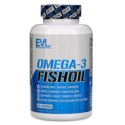 Купить EVLution Nutrition Рыбий жир с омега-3 кислотами, 120 мягких желатиновых капсул