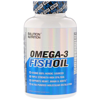 EVLution Nutrition, Omega-3 Fish Oil, Triple Strength, 120 Softgels