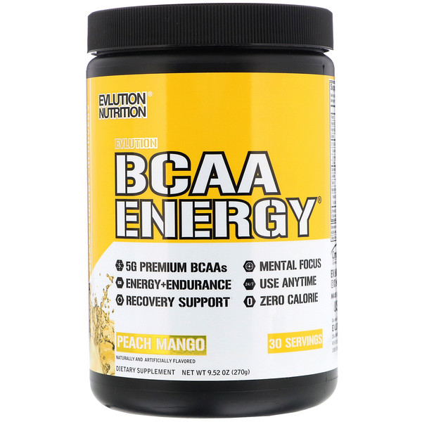 EVLution Nutrition, BCAA Energy, Peach Mango, 9.52 oz (270 g) (Discontinued Item)