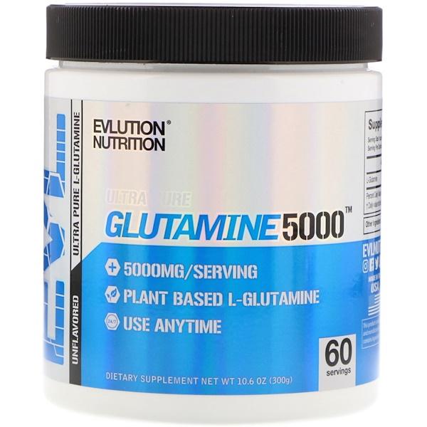 EVLution Nutrition, Glutamine5000, 5000 mg, Unflavored, 10、6 oz (300 g)