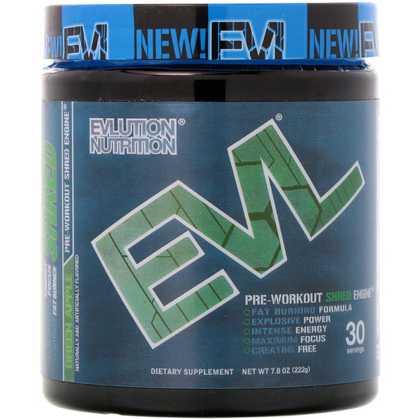EVLution Nutrition, ENGN Shred, Pre-Workout Shred Engine, Green Apple, 7.8 oz (222 g) (Discontinued Item)