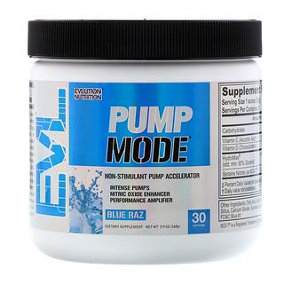 """EVLution Nutrition, PumpMode, усилитель эффекта """"мышечного насоса"""" без стимуляторов, синяя кутерьма, 168 г"""