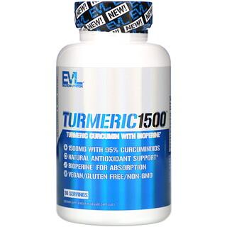 EVLution Nutrition, 薑黃素 1500,90 粒素食膠囊