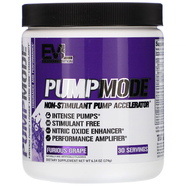 EVLution Nutrition, PumpMode, Non-Stimulant Pump Accelerator, Furious Grape, 6.14 oz (174 g)
