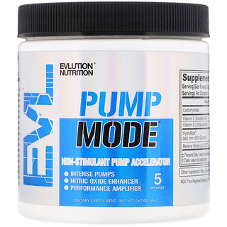 EVLution Nutrition, Pump Mode, Acelerador de Bombeamento Não Estimulante, 0,67 oz (19 g)