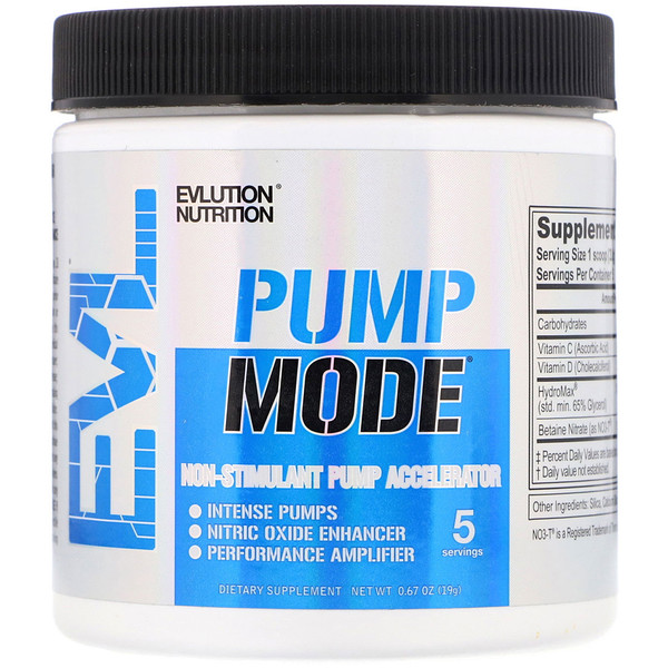EVLution Nutrition, ポンプモード、非刺激性ポンプ加速器、0.67 oz (19 g) (Discontinued Item)