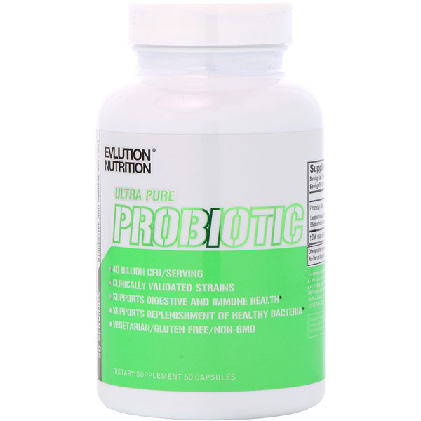 EVLution Nutrition, Ultra Pure Probiotic , 40 Billion CFU, 60 Capsules