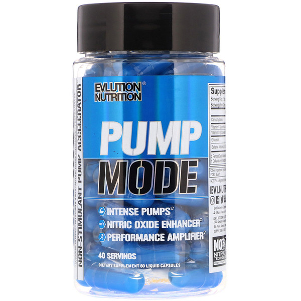 EVLution Nutrition, Pump Mode, 80 жидких капсул