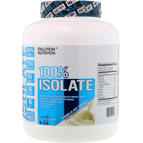 EVLution Nutrition, 100% Isolate, Vanilla Ice Cream, 4 lb (1814 g)