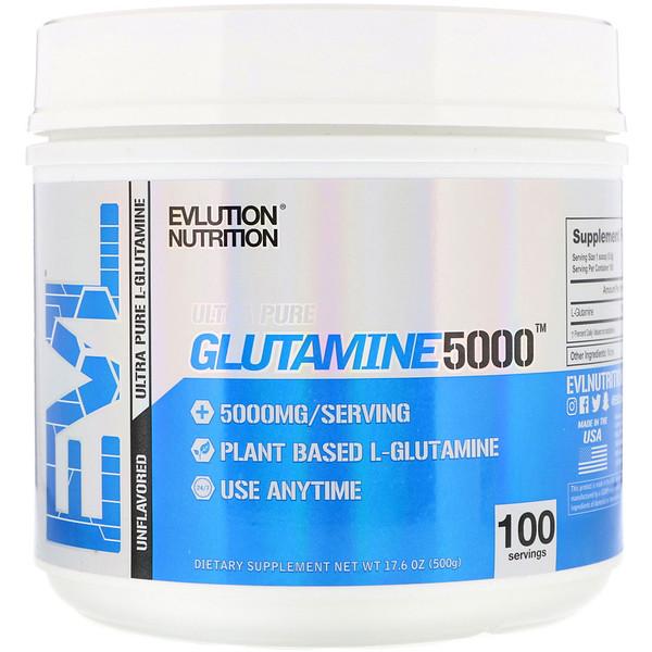 EVLution Nutrition, Glutamine 5000, Unflavored, 17.6 oz (500 g)