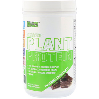 EVLution Nutrition, Stacked Plant Protein植物蛋白質粉,天然巧克力,1.5磅(680克)